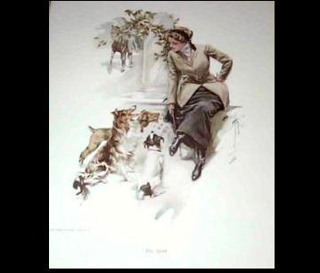 Vintage Harrison Fisher Print Equestrian Lady, Collie, Jack Russell Terrier Dogs