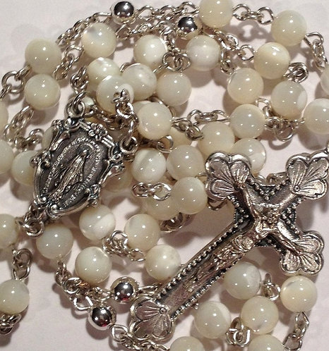 """Mother Of Pearl Rosaries 22"""" Rosary Beads Miraculous Medal Centerpiece - Creed"""