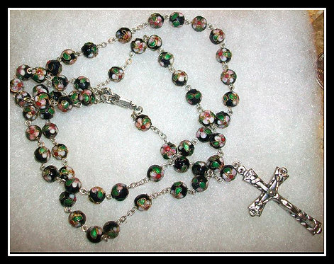 Black Cloisonne Rosary Beads  Our Lady Of Grace Virgin Mary Miraculous Medal