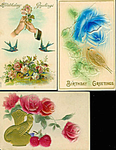 Antique Greeting Postcards: Lot Of 3 : Birds, Romance