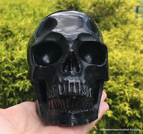 "5"" Large Powerful Activated Black Tourmaline Crystal Skull Manifestation, Luck"