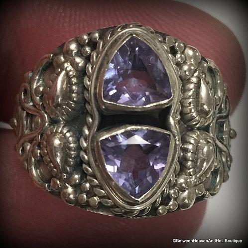 Alexandrite Sterling Silver Ring Trillion Cut Gemstones Size 7, Vintage Ring