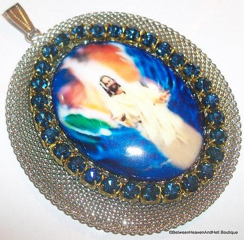 "Large 3"" Rhinestone Porcelain Cameo Pendant Jesus Christ King of Heaven, Vintage"