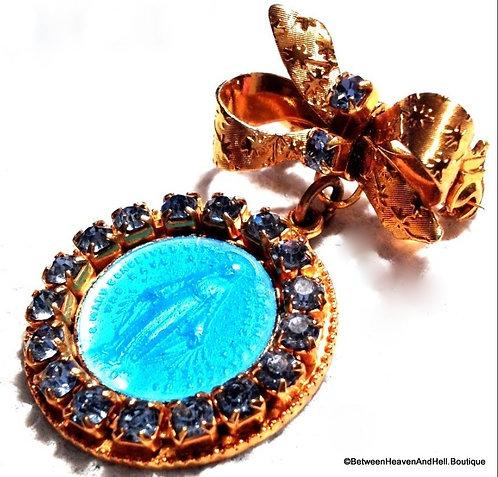 Vintage Catholic Religious Jewelry Blue Rhinestone Enamel Miraculous Medal Pin