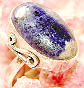Blue Sodalite Ring Sterling Silver Gemstone Jewelry