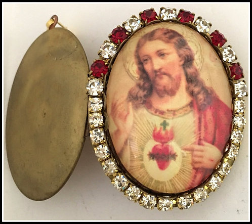 Red Rhinestone Jesus Cameo Prayer Locket Sacred Heart Pendant, Catholic Jewelry