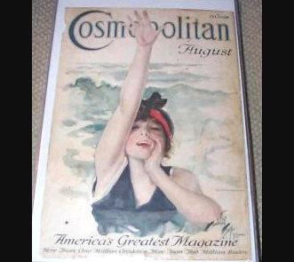 1916 Harrison Fisher Cosmopolitan magazine cover Art Swimming Neptunes Daughter