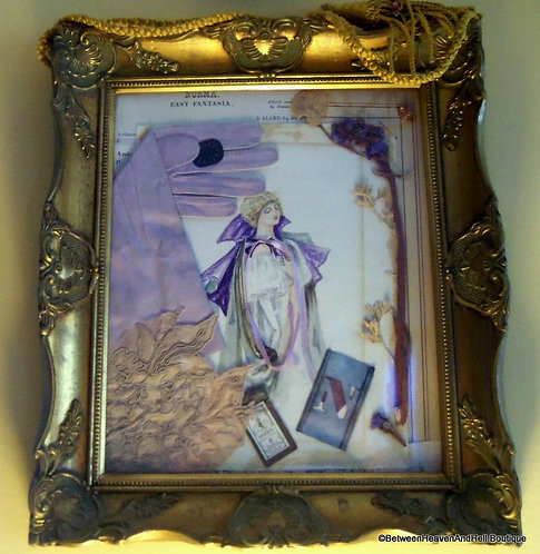 Antique Shabby Victorian Collage Watercolor Painting Lady in Purple