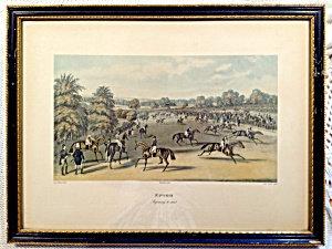 Antique Epsom Preparing Start Hunt Horse Race Colored Engraving