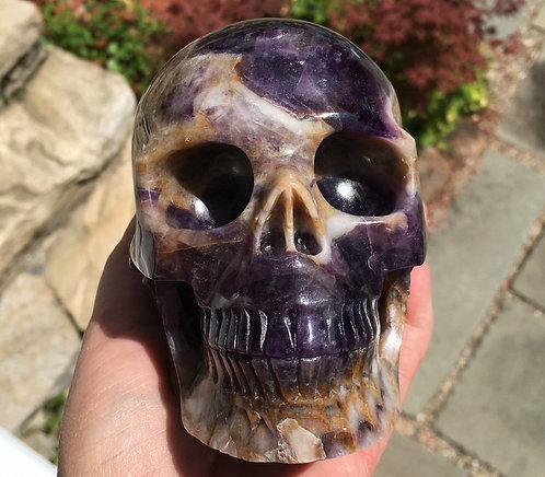 "Large 5.1"" Activated Amethyst Cacoxenite Crystal Skull - the stone of ascension"