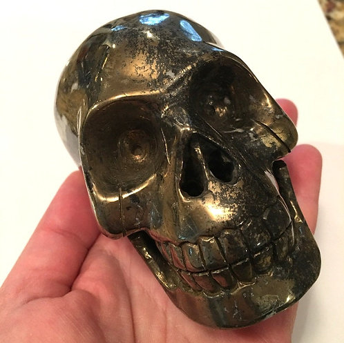 "4"" Vintage Gold Pyrite Crystal Skull Golden Ray Light of God Vibration Energy"