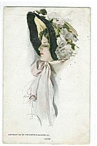 Artsist Signed Postcard Harrison Fisher Victorian Lady Flower Hat