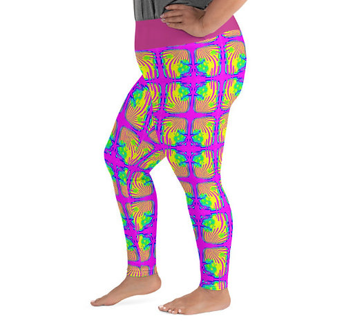 All-Over Print Plus Size Leggings 2Xl - 6XL Psychedelic Neon Flower Power