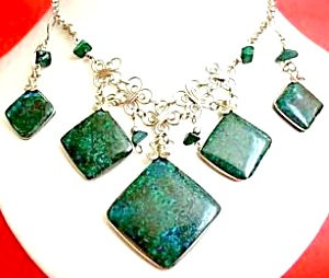Big Chrysocolla Necklace Drop Earrings Set Silver