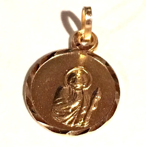 Vintage Solid 14k Gold Patron Saint Jude Medal Tiny Bracelet Charm, Lost Causes