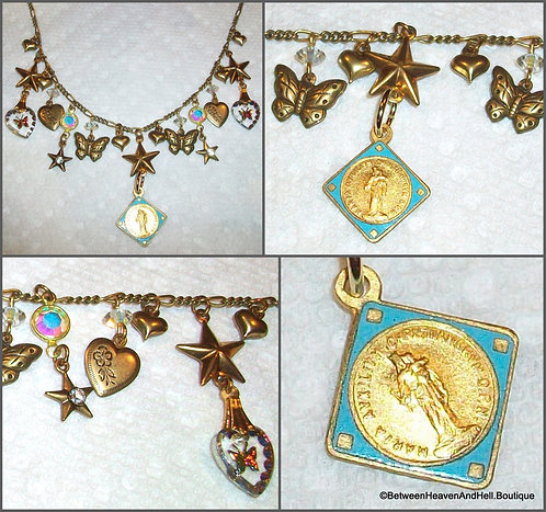 Vintage French Enamel Madonna and Child Medal Charm Necklace Butterfly Stars