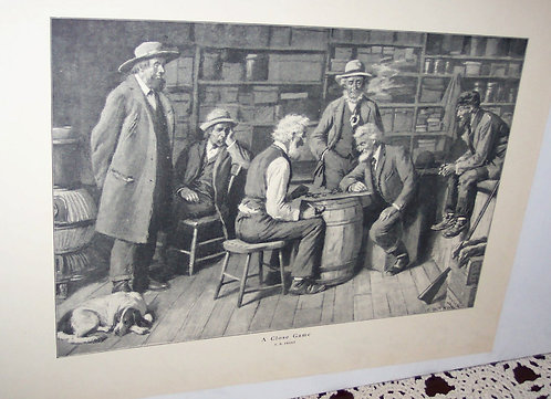 Vintage Art Print Ab Frost Country Print A Close Game Checkers