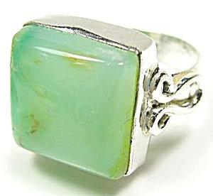 Big Mint Chrysoprase Sterling Silver Gemstone Ring 8.5