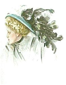Print: Harrison Fisher Beauty Big Feather Hat