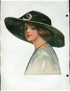 Hamilton King Lady In Floppy Hat Victorian Scrapbook Page Print