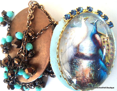 Vintage Blue Rhinestone Peacock Cameo Locket Beaded Necklace Handcrafted Jewelry
