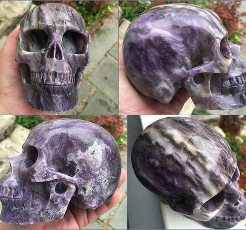 """Large 5"""" Purple Opal Fluorite Crystal Skull Activated Spirit Guide Communication"""