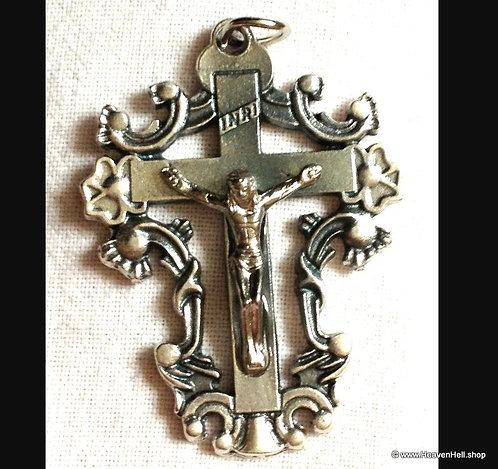 Large Ornate Crucifix Cross Pendant Silver Religious Christian Statement Jewelry