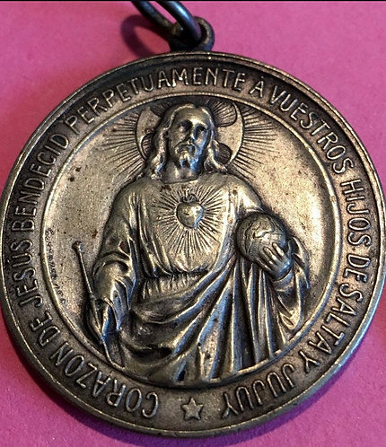 Large 1800's Antique Sacred Heart of Jesus Holy Medal Signed by Gottuzzo
