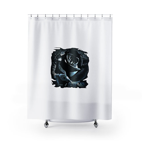 Trendy Black and White Bath Decor Chic Shower Curtain Rose Artwork Home Decor