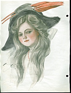 Vintage Print Illustration Harrison Fisher Lady Red Feather Hat