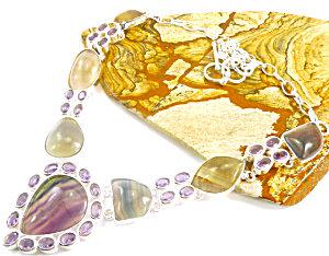 Big Amethyst Rainbow Fluorite Necklace Sterling Silver