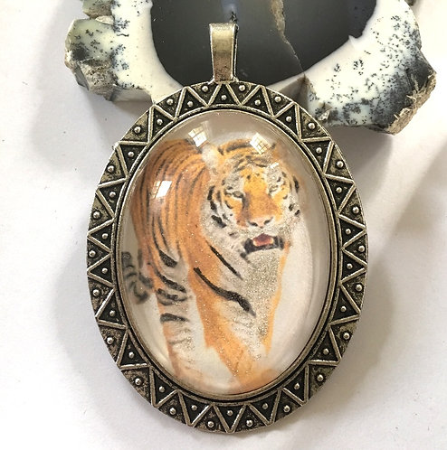 "2"" Handcrafted Wearable Art Jewelry Glitter Embellished Tiger Cameo Pendant"
