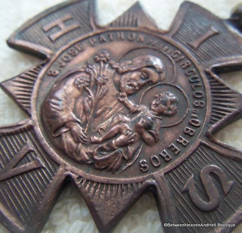 Rare Antique Saint Joseph San Jose Maltese Cross Vintage Medal Copper Pendant