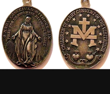 Large Antique Sterling Miraculous Medal Our Lady Of Grace Pendant Virgin Mary