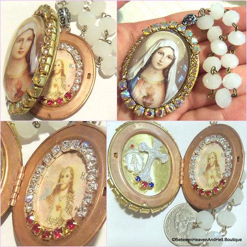 Rhinestone Cameo Shrine Locket Virgin Mary Sacred Heart Scapular Prayer Beads