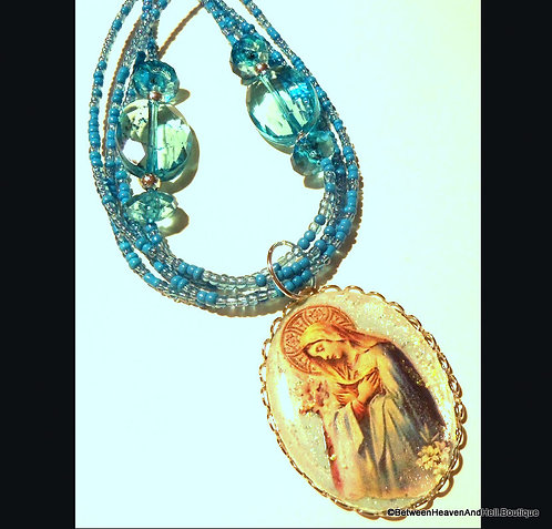 Virgin Mary Our Lady of Sorrows Necklace Blue Beads Multi Strand Pendant