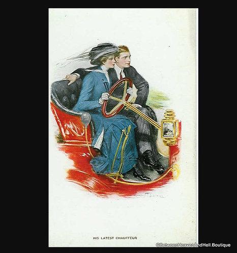 Antique Romantic Artist Signed Postcard Clarence Underwood Auto Romance
