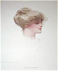 Harrison Fisher Antique Art Print- Beautiful Ladies: Victorian Blonde