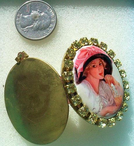 Rhinestone Porcelain Cameo Locket Pendant Harrison Fisher Edwardian Lady Jewelry