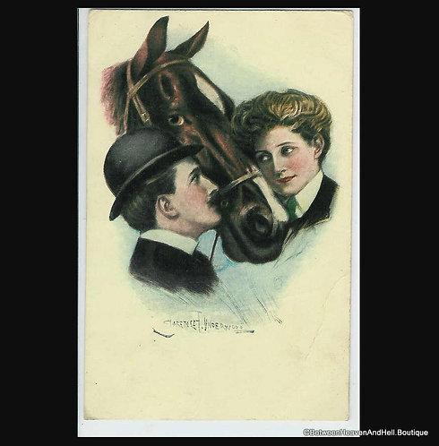 Antique Equestrian Postcard Clarence Underwood Edwardian Lady Man Horse