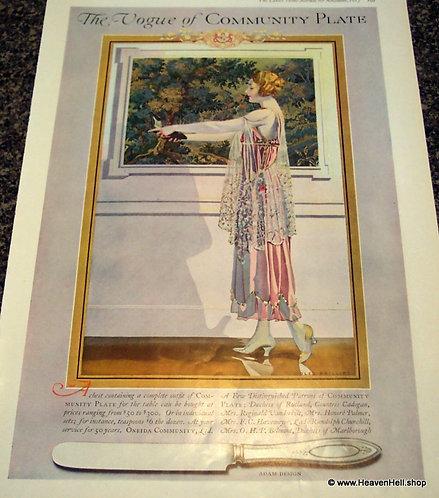 large Coles Phillips Prints: Community Plate Ad Illustration 1917
