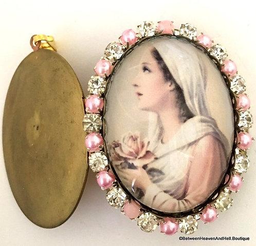 Vintage Mystical Rose Virgin Mary Cameo Locket Prayer Pendant, Religious Jewelry
