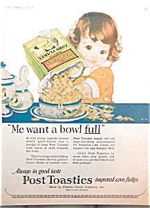 Vintage Post Toasties Cereal Ad: Little Girl Kitchen Print 1923
