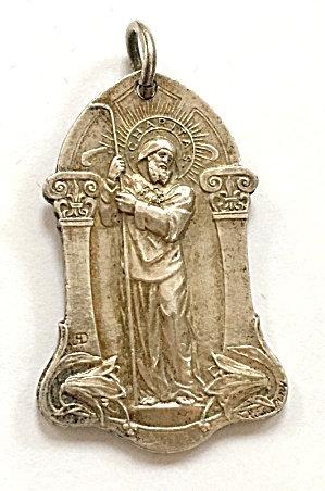 Antique Signed Rasumny Art Nouveau Catholic Medal St. Benedict