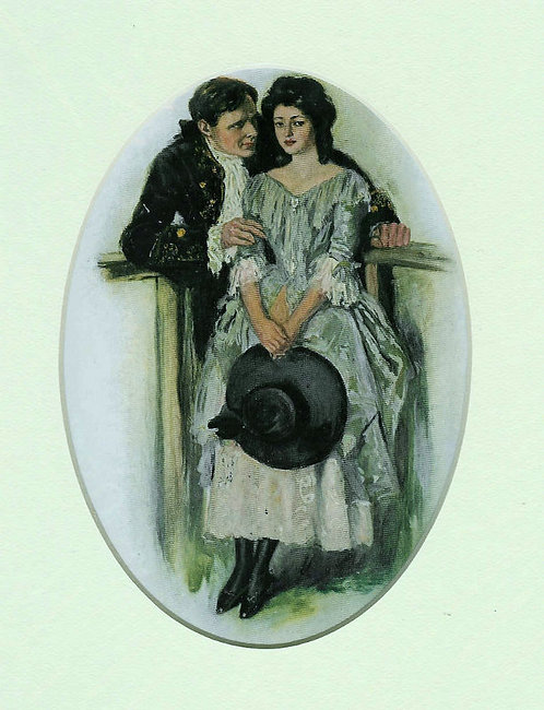 Antique Romance Print: Clarence Underwood 1907: Colonial Art, Lady With Hat