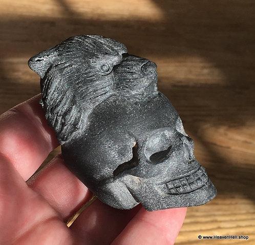 Hand-carved Black Obsidian Skull Tiger Skull Carving Personal Power Crystal