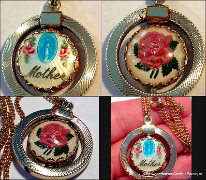Vintage Mother Necklace VirginMary Miraculous Medal Guilloche Roses