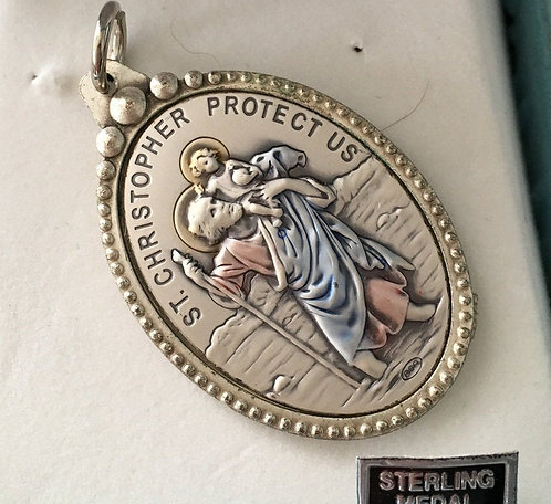 Large Enamel Sterling Silver Saint Christopher Medal -Italy
