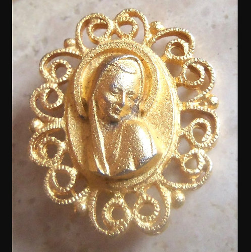 Vintage Blessed Mother, Virgin Mary Pin Brooch Religious Catholic Jewelry