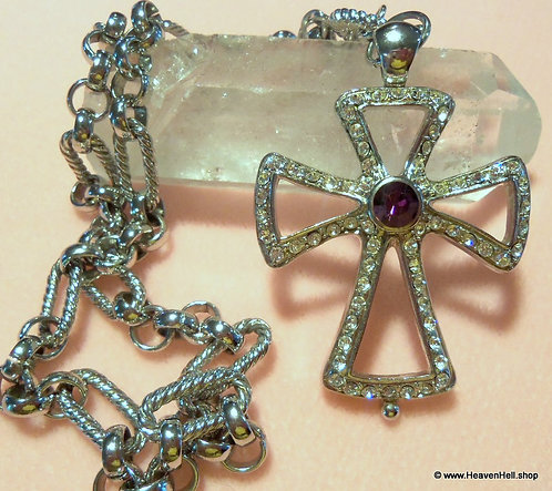 Large Vintage Rhinestone Cross Necklace Wide Chunky Chain Religious Jewelry